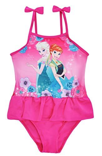 Disney Frozen Anna Elsa - Bañador para niña Rosa Rosa 104/110 cm/4-5 años