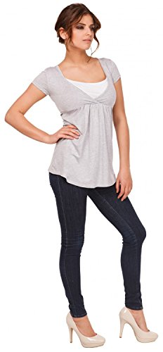 Happy Mama Damen Umstandsmoden Stillshirt in Wickeloptik Empire-Taille Top. 373p Grau Melange