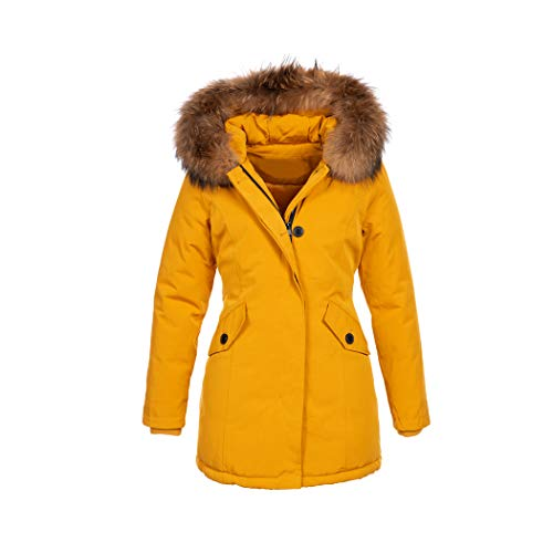 Elara Damen Winterjacke Echt Fell Mantel Gelb Chunkyrayan 6015 Yellow 34/XS