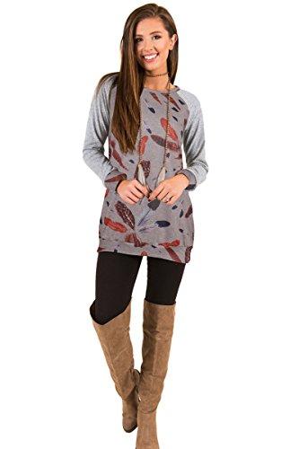 ECOWISH Damen Warme Lange Ärmel Feder Muster Rundhals Loose Stitching Shirt Tuniken Bluse Grau