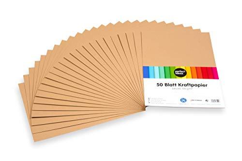 perfect ideaz 50 Blatt DIN-A4 Kraft-Papier-Set, 120g /m², Bedruckbar, Bastel-Bogen in braun, Vintage-Natur-Paper in Karton-Optik, Zubehör zum Basteln für Falt-, Speise- und Menü-Karten, Craft-Bedarf