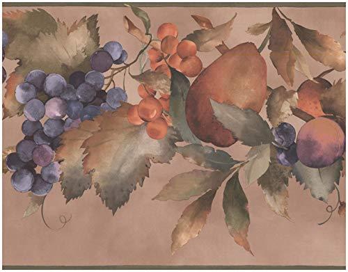 York Vorpastiertes Wallpaper Border - Lila Lachsrosa Trauben Pear Plum Sepia Tan Wand-Rand Retro Design,Rollen 15 ft x 10 in. 10.25