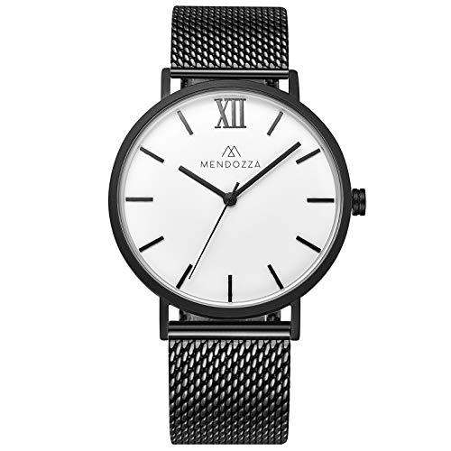 Mendozza Herrenuhr Le Blanc Flache Designeruhr Edelstahlarmband Schweizer Uhrwerk Saphirglas Schwarz Weiß 40 mm, Schwarz/Schwarz (MW-RB0400G-BMG)