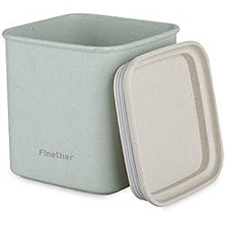 Finether-Recipiente de Almacenamiento de Alimentos (Material de la Paja de Trigo, Ecológico, Sano, Seguro, Sellado, Cuadrado, 10.5cm) (Verde)