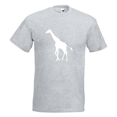 KIWISTAR - Giraffe Silhouette T-Shirt in 15 verschiedenen Farben - Herren Funshirt bedruckt Design Sprüche Spruch Motive Oberteil Baumwolle Print Größe S M L XL XXL Graumeliert
