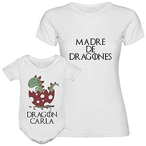 Regalo día de la madre camiseta madre personalizada + Body o camiseta hijo/a Texto estilo juego de tronos para mamá 5
