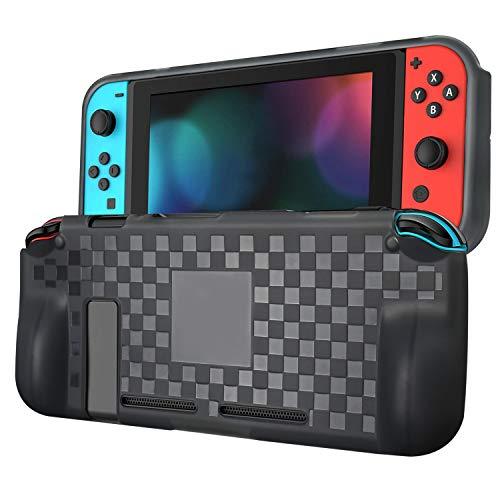 ykooe Silikonhülle für Nintendo Switch Schutzhülle haben Game Karten Slot Griff und rutschfeste Anti-Scratch Hülle - Transparent Schwarz