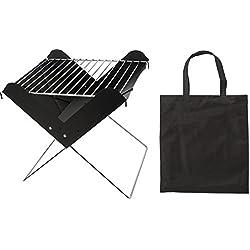 Grill faltbar Holzkohlegrill mit Grillrost Grills kaufen schwarz Kohlegrill + Tasche Camping Grill Aufbauzeit ca. 2-3 Minuten