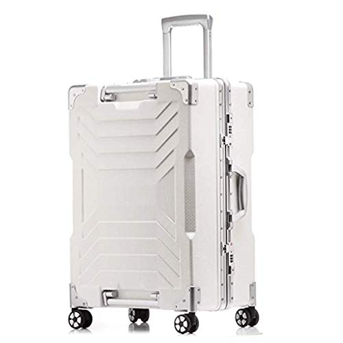 Schlichtes Design Einbau-Kombinationsschloss mit TSA-Zulassung Koffer mit Aluminiumrahmen, komplett ausgekleidet, mit Trennwand. Handgepäck mit Rädern (Color : White, Size : 24inches) -
