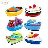 Egosy 6 Stücke Bath Boat Toys Baby Cartoon Boot Weiche Gummi Badespielzeug Schwimmbad Baby Kinder Wasser Spray Spielzeug schwimmendes Boot