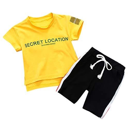 LEXUPE Kleinkind Kinder Baby Jungen Brief Kurzarm T Shirt Tops Shorts 2 STÜCKE Outfits Set(Gelb,90)