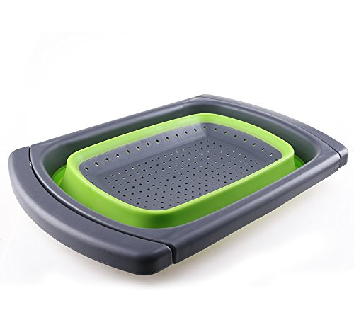 ANPI Zusammenklappbar Seiher, Erweiterbar Silikon Küche Sieb Essen Gemüse Obstkorb Über dem Waschbecken mit Dehnbare Griffe, Erweitert auf 61cm, Grün & Grau (Sieb Waschbecken über)