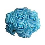 10 PCS DIY Artificial Flowers Bridal Bouquet Rose Flower for Wedding Place Decorating(Blue)