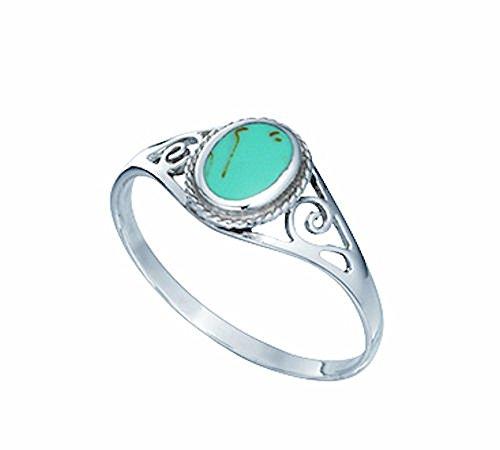 ovaler verzierter Tuerkis-Ring, Sterling-Silber 925 Größe 56 (17.8) - Damen