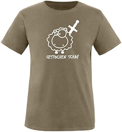 Luckja Gestochen Schaf Herren Rundhals T-Shirt Oliv/Weiss