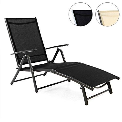 Nexos Gartenliege Sonnenliege Liegestuhl Klappliege – für Terrasse Balkon – klappbarer...