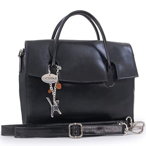 Catwalk Collection Handbags - Leder - Organizer/Handtasche mit Schultergurt - iPad/Tablet - Vintage Leder - Handtasche mit Schultergurt -ELLA - Schwarz