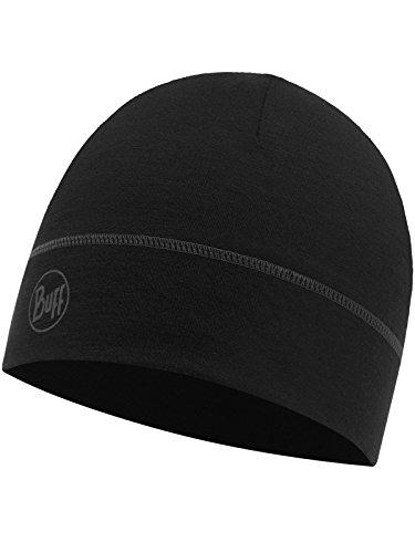 Buff Erwachsene Lightweight Merino Wool 1 Layer Hat Mütze, Solid Black, One Size