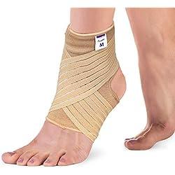 Actesso Elastische Knöchel Bandage - Sprunggelenk mit Wickelband. Die Ultimative Fussbandage für zerrungen, verstauchungen und Sport (Beige, Mittelgroß (22-25 cm))