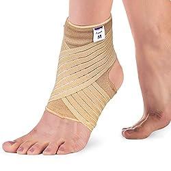Actesso Elastische Knöchel Bandage - Sprunggelenk mit Wickelband. Fussbandage für zerrungen, verstauchungen und Sport (Beige, Groß (25-28 cm))