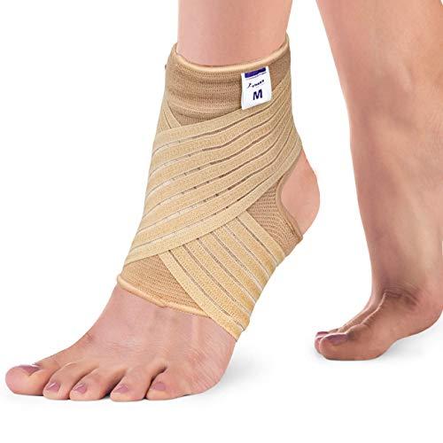 Actesso Elastische Knöchel Bandage - Sprunggelenk mit Wickelband. Die Ultimative Fussbandage für zerrungen, verstauchungen und Sport (Beige, Mittlegröß (22-25 cm))
