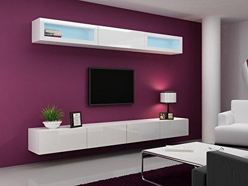 Wohnwand VIGO 11, Anbauwand, Wohnzimmer Möbel, Hochglanz !!! LED Beleuchtung !!! - 2