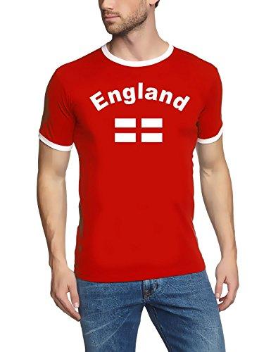 Coole-Fun-T-Shirts England T-Shirt Ringer Rot, Gr.M