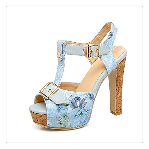 happy&live 33-43 Platform Sandals Women Big Size Extreme High Heel Sandals Women 11.5 CM Summer Shoes Blue 11