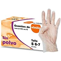 GUANTES DE VINILO SIN POLVO Talla S 10 Cajas X 100 u pack (1000u). Libre de latex.Indicado para manunipulacion de alimentos, seguiridad e higiene.