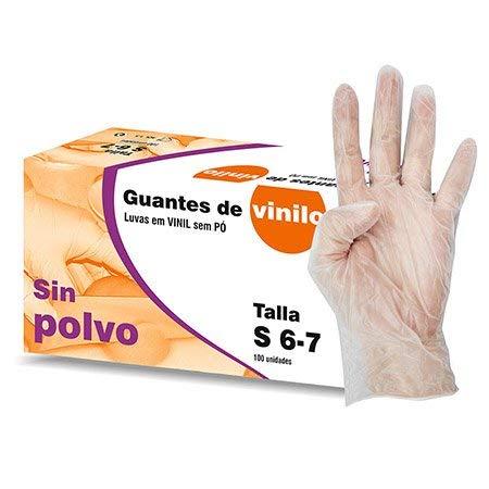 GUANTES DE VINILO SIN POLVO Talla S 10 Cajas X 100