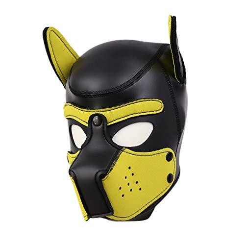 chwarz Latex Schwamm Sex Bondage Maske,SM Maske Öffnungen Augen Weich und Glatt Sex Spielzeug Fasching Karneval für Paar (Gelb) ()