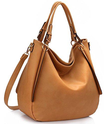 LeahWard® Damen Mode Essener Groß Hobo-Tasche mit Gurt Qualität Modisch Kunstleder Schulter Handtasche CWS00448 CW1248 CW785 CWB011627 nackt