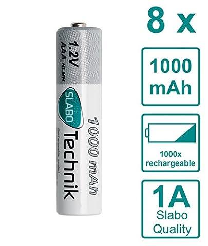 Slabo Ni-MH Akku AAA Micro Batterien wiederaufladbar rechargeable Batterie HR03 Nickel-Metallhydrid 1000mAh / 1.2V - 8er-Pack