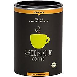 Green Cup Coffee Cascara Tee aus Peru - koffeinhaltiger Tee Getränk aus getrockneten Kaffeekirschen Schalen - hochwertiger Kaffeekirschentee in Bio-Qualität - 150g Dose