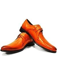 Modello Giacio - 44 EU - Cuero Italiano Hecho A Mano Hombre Piel Rojo Zapatos Vestir Oxfords - Cuero Cuero Pintado a Mano - Encaje