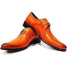 Modello Bluto - 43 EU - Cuero Italiano Hecho A Mano Hombre Piel Azul Monk Zapatos Oxfords - Cuero Cuero Pintado a Mano - Hebilla 3Wcwb