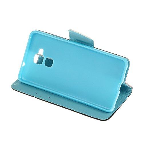 Honor 5C Hülle,Honor 5C Case, Honor 5C Tasche Cozy Hut Handy Tasche Schutz Hülle im Bookstyle für Huawei Honor 5C Wallet Case mit Standfunktion Schutzhülle mit Standfunktion Kartenfächer mit Weich TPU Bilaterale Blume