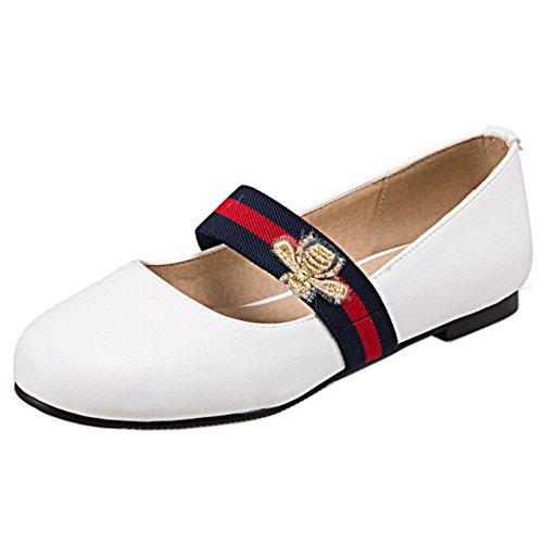 COOLCEPT Damen Klassische Mary Janes Flach Pumps Ballerinas Schuhe White