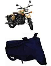 SHAH BROTHERS ENTERPRISES Water Resistant 2 Wheeler Body Cover for Royal Enfield 350 (Blue Stripe)