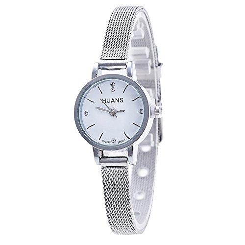 Homim Damen Analog Quarzuhr silber Farbe Schmal Edelstahl Armband weiss Zifferblatt Kleine Studenten Uhrwerk Frauen Armbanduhr