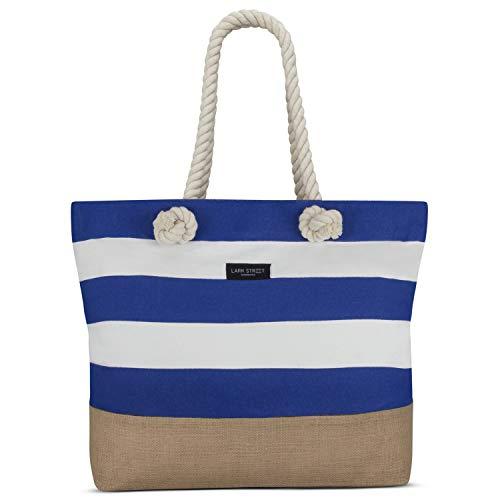 LARK STREET Strandtasche Blau Gestreift Beach Bag für Damen & Herren aus robustem Baumwoll Canvas & Jute - Badetasche mit Breiten Kordeln für angenehmen Große Tasche mit Reißverschluss - Über Die Schulter Tote