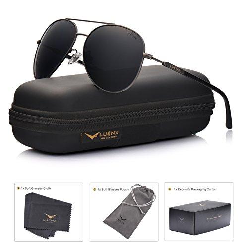 9f05ba51e LUENX Hombre Gafas de sol Aviador polarizado con estuche - UV 400.