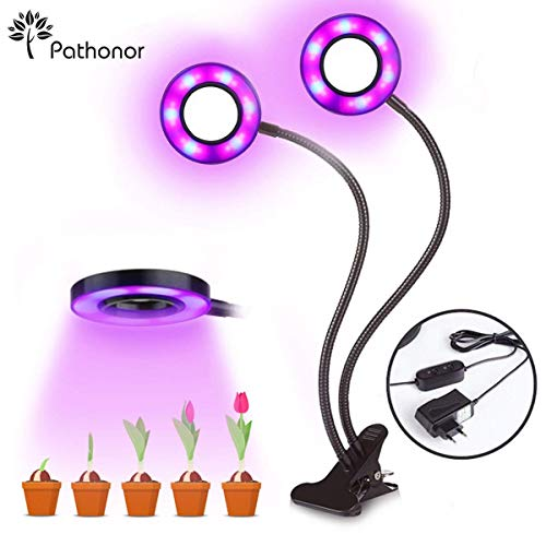 Pathonor Pflanzenlampe 24 Watt LED-Lampe, Pflanzenlicht Wachsen licht Doppelkopf Pflanzenleuchte Wachstumslampe mit 360 Grad einstellbar Flexible für Zimmerpflanzen Gemüse und Blumen (Farbe 1)
