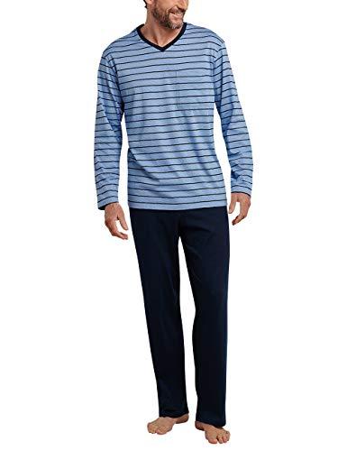 Schiesser Herren Zweiteiliger Schlafanzug Anzug Lang Blau 800, XXX-Large (Herstellergröße: 058)