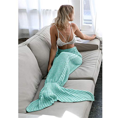 BFHLRDE Hot Mermaid Decke Handmade Gestrickte Meerjungfrau Schwanz Erwachsene Kinder Schlafsack TV Sofa Bettwäsche Super Soft Solid Color Blankets 1 140x70cm