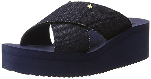 flip*flop - Plateau Cross Denim, Sandali Donna Blau (Deep Night)