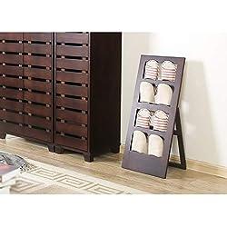 CWJ Range-chaussures, porte de salon Porte-chaussures multicouche, Foyer en bois massif de style japonais, coulissant, pantoufles repliables, étagère verticale en hêtre Étagère à chaussures de rangem