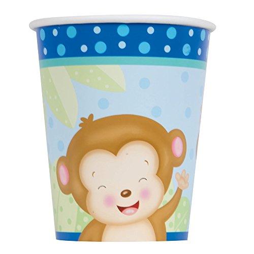 s 266ml Boy Affe Baby Dusche Pappbecher, 8Stück (Safari-geburtstags-party-ideen)