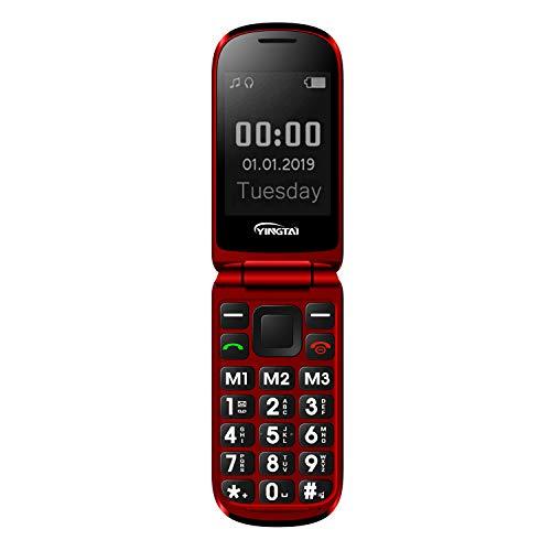 Seniorenhandy Klapp-Handy mit Großen Tasten Klapphandy und Notruffunktion mit SOS-Taste by YINGTAI T09 2G (Rot) Klapp-handy