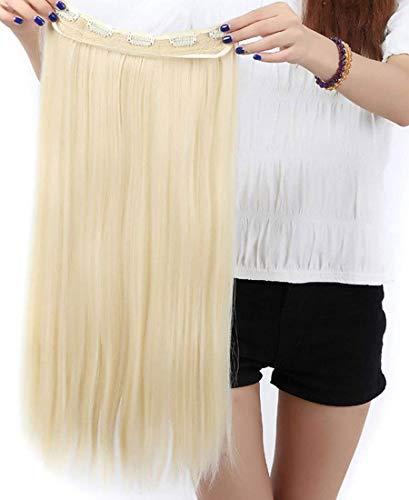 Extension clip in hair capelli biondo chiarissimo - una fascia lunghi lisci one piece 3/4 full head larga 25cm lunga 65cm vari colori
